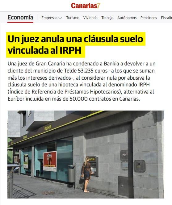 Uriarte y asociados un abogado tributario en Las Palmas de Gran Canaria consigue anular una clausula suelo irph