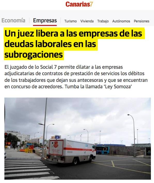 Uriarte y asociados un abogado en Las Palmas de Gran Canaria consigue la Sentencia somoza que libera a las empresas de las deudas laborales en las subrogaciones